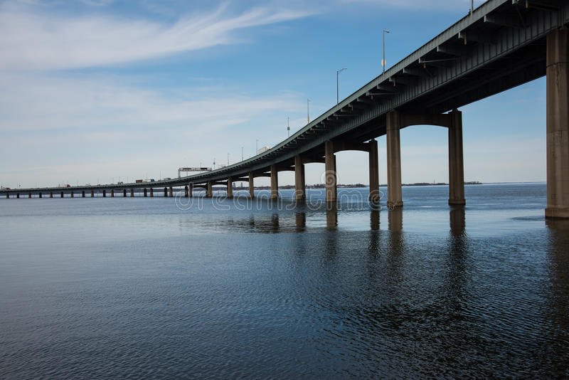 Throgs Neck Bridge connecting Queens to the Bronx in New York Ci stock images