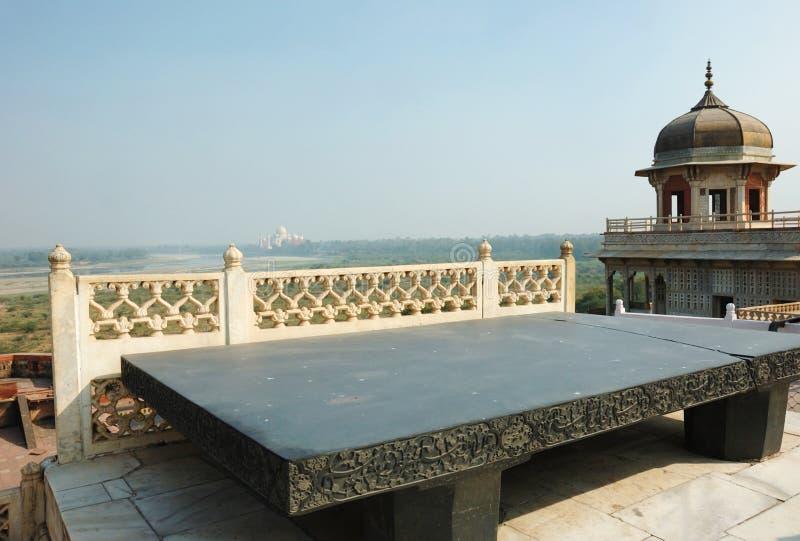 Thron von Jahangir am roten Fort, UNESCO-Erbe, Agra, Indien lizenzfreie stockbilder