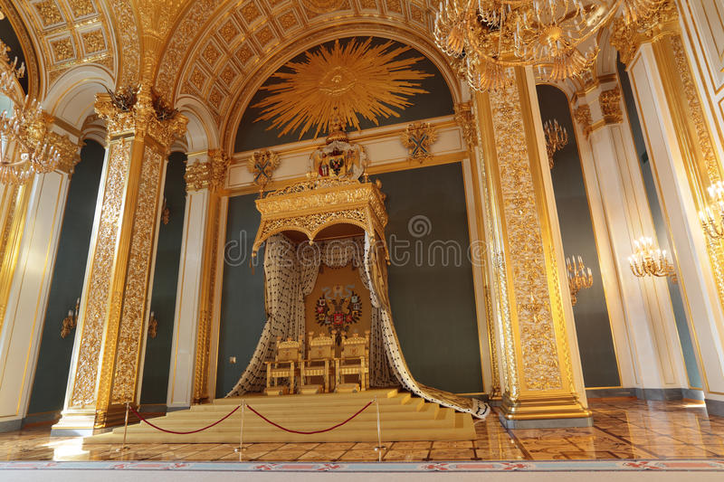 Throne. Russia, Moscow, Grand Kremlin Palace - historical old building built from 1837 to 1849, at the present time the ceremonial residence of the President of royalty free stock photography