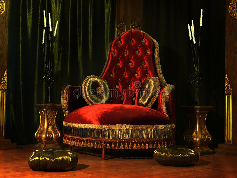 The throne. Rich-looking armchair with pillows stock photography