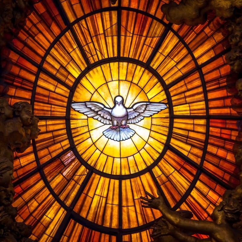 Throne Bernini Holy Spirit Dove, Saint Peter`s Basilica in Rome. ROME, ITALY - AUGUST 24, 2018: Throne Bernini Holy Spirit Dove Saint Peter`s Basilica Vatican stock photography