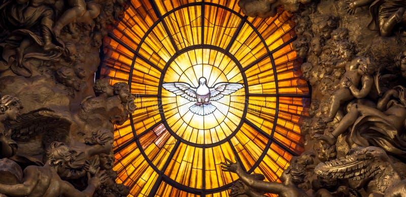 Throne Bernini Holy Spirit Dove, Saint Peter`s Basilica in Rome. ROME, ITALY - AUGUST 24, 2018: Throne Bernini Holy Spirit Dove Saint Peter`s Basilica Vatican royalty free stock photo
