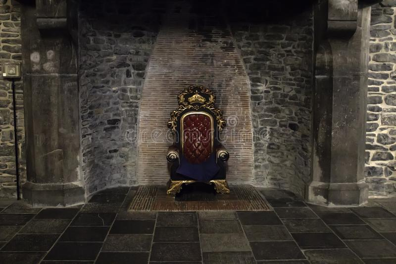Throne in castle stock image