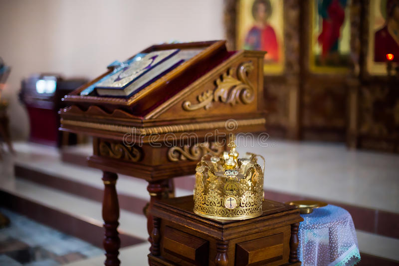 Throne, crown in the church stock image
