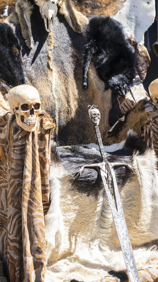 Throne of furs and skulls with a Viking sword. Chair with animal royalty free stock image