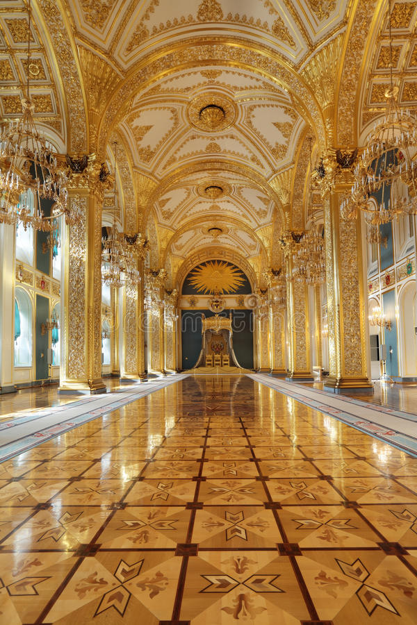 Throne hall. Russia, Moscow, Grand Kremlin Palace - historical old building built from 1837 to 1849, at the present time the ceremonial residence of the stock photo