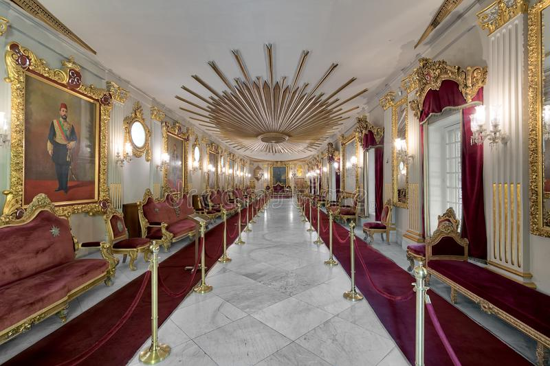 Throne Hall at Manial Palace of Prince Mohammed Ali Tewfik with ornate ceiling, Cairo, Egypt. Cairo, Egypt - October 21, 2017: Throne Hall at Manial Palace of royalty free stock photos