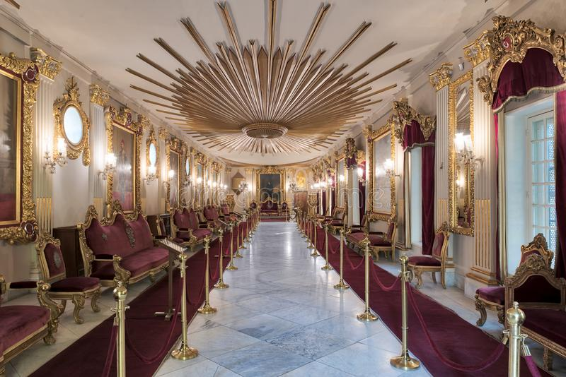 Throne Hall at Manial Palace of Prince Mohammed Ali Tewfik with ornate ceiling and gold plated armchairs, Cairo, Egypt stock images