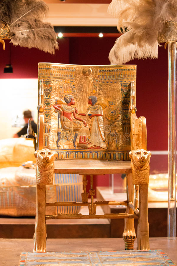 The Throne. King Tut's Throne on display royalty free stock image