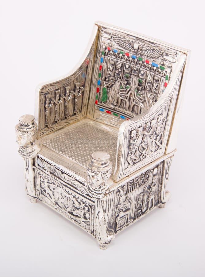 Throne. Of king Tutankhamen isolated on white stock photography