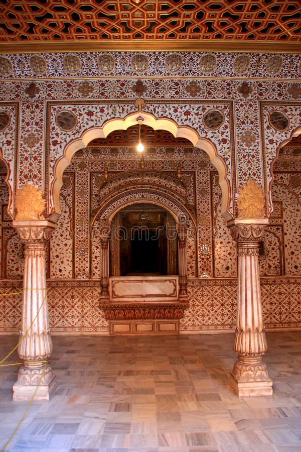 Throne of Kingin Palace Hall. Place of throne of king in hall of audience at Junagarh fort, Bikaner, Rajasthan, India, Asia royalty free stock images