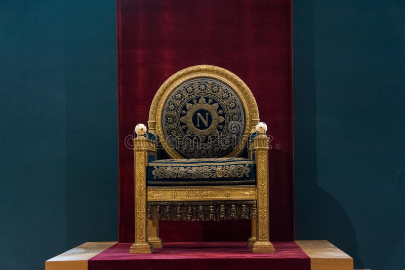 Throne of Napoleon. I Bonaparte in Louvre museum, Paris, France stock photography