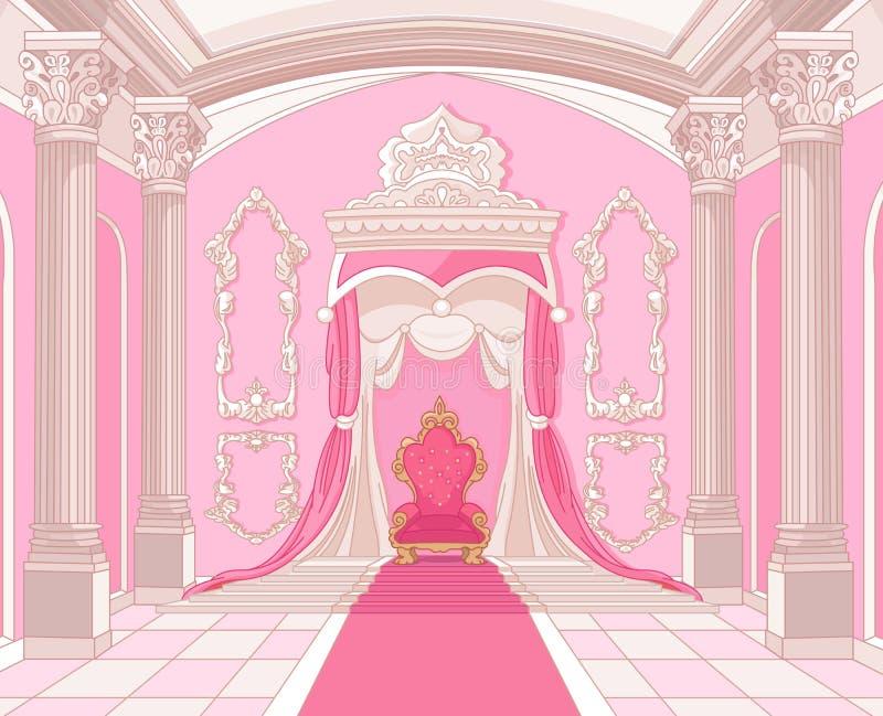Throne room of magic castle royalty free illustration