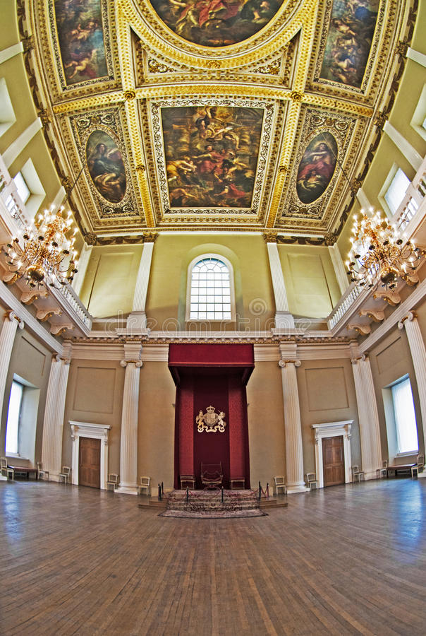 Throne & Rubens Ceiling at the Banqueting House royalty free stock images