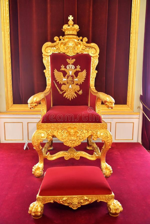 The throne of the Russian Tsar in the Big Gatchina Palace royalty free stock image