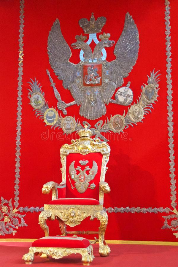 The throne of the tsar in Hermitage Museum in St. Petersburg, Russia stock photo