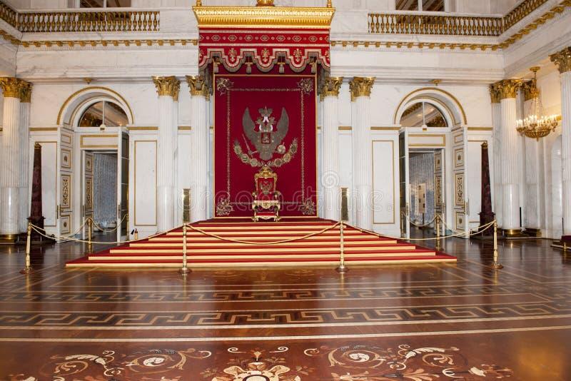 Throne of Russian Tsar, Herimitage, St. Petersburg, Russia stock photo