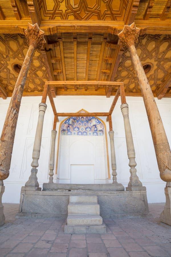 Thronhalle in der Archefestung von Bukhara, Usbekistan stockfoto