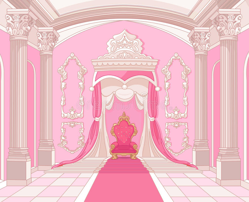 Thronraum des magischen Schlosses lizenzfreie abbildung