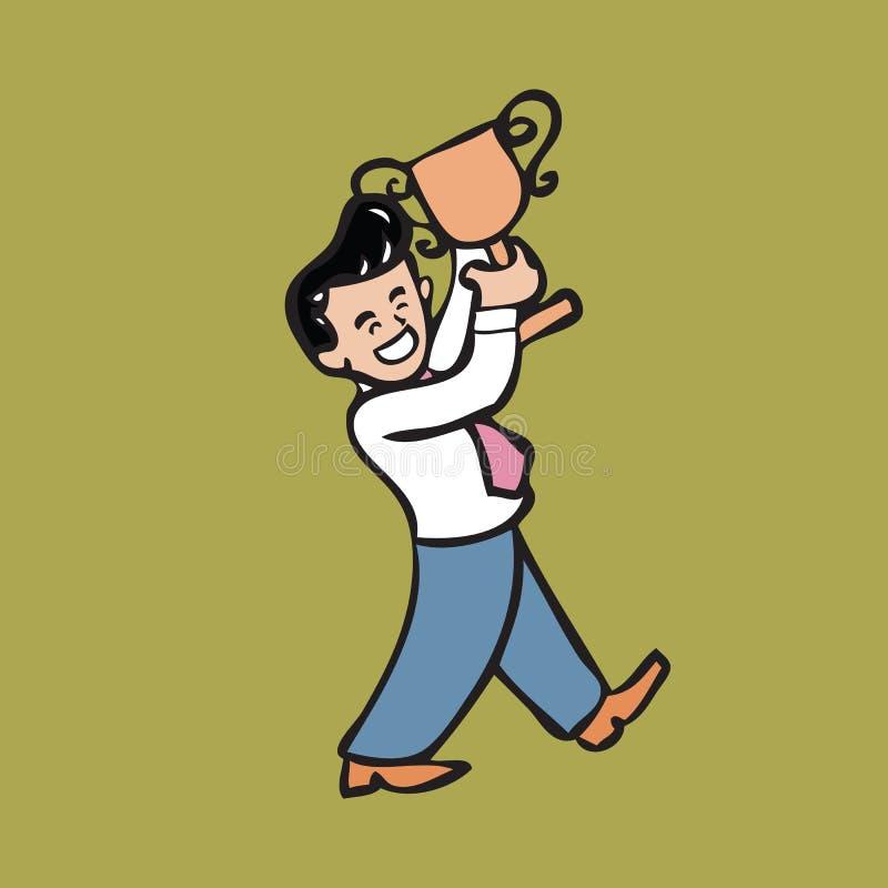 Throphy zakenmanholding royalty-vrije illustratie