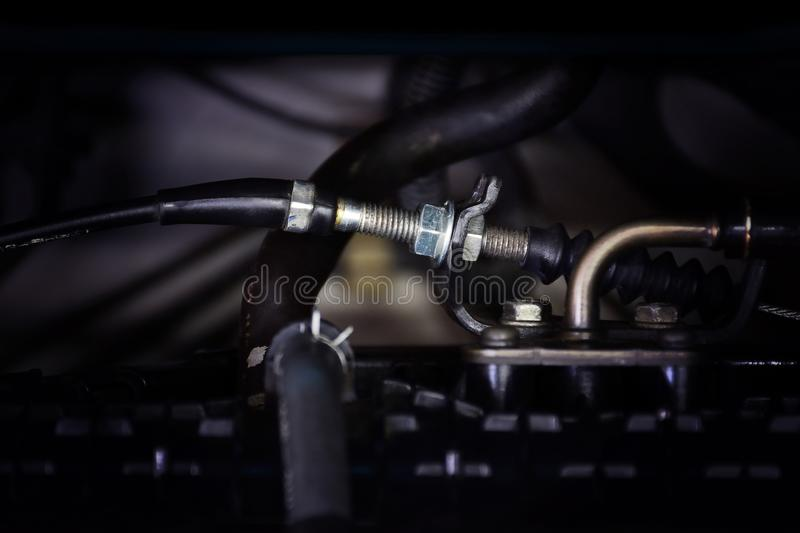 The throttle cable of the engine is installed in the engine comp stock photo