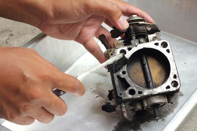 Throttle valve cleaning royalty free stock photos