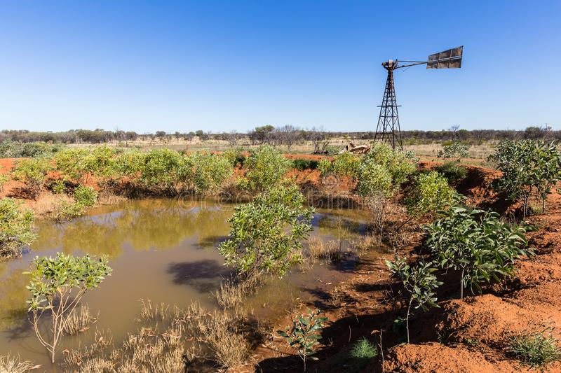 Remains of former gold mines polluting the Australian outback stock photos