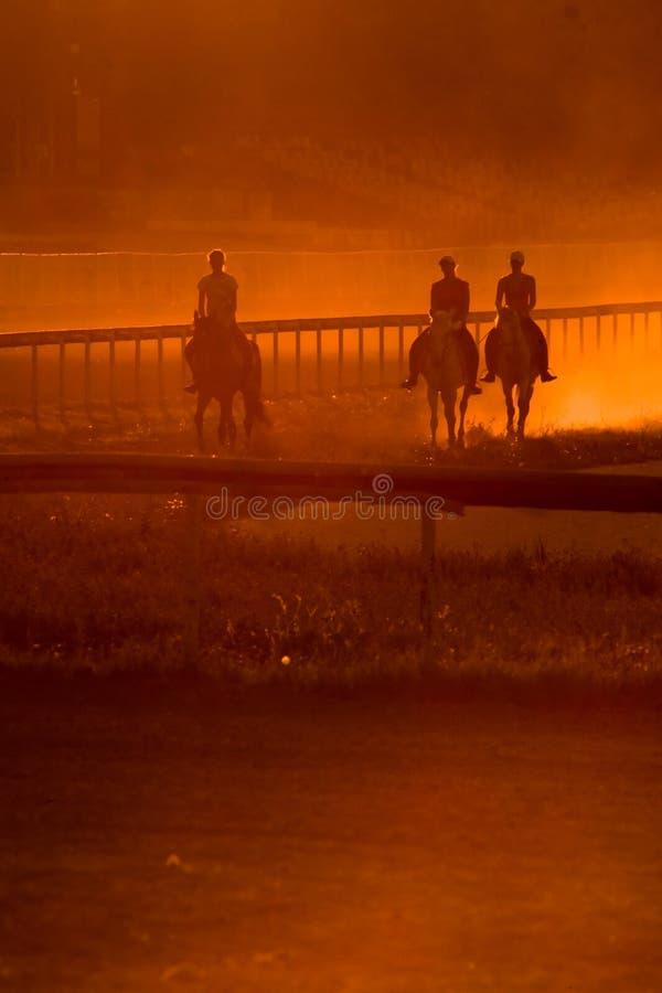 Throughsunset d'équitation images libres de droits