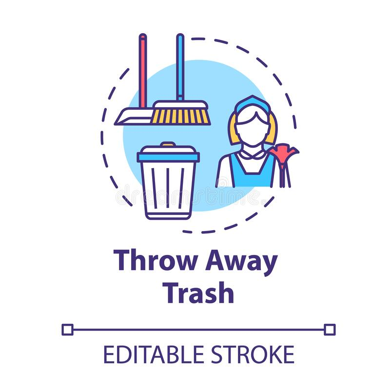 Free Throw Away Trash Concept Icon. Housework And Cleanliness. Cleaning House. Put Garbage In Bin. Housekeeping Work Idea Stock Photo - 188769940