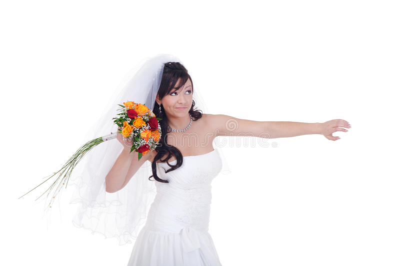 Throw this bridal bouquet away. Bride is about to throw her bouquet away stock image