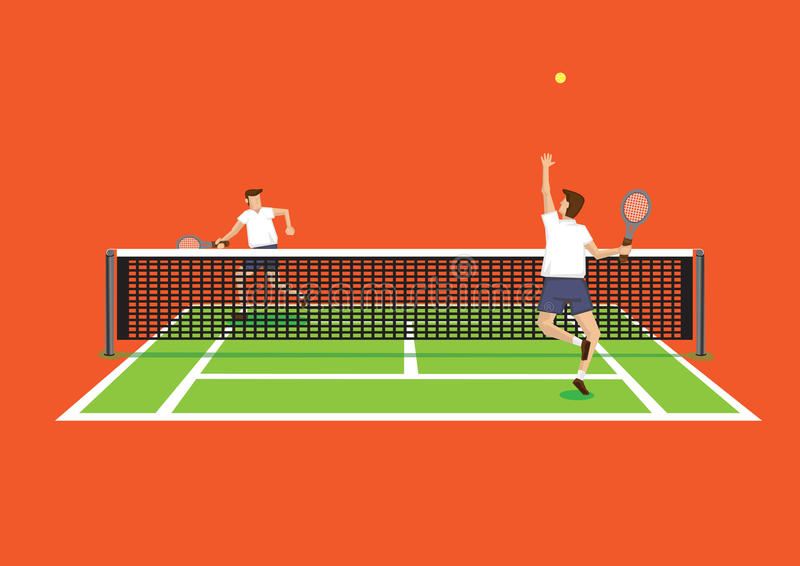 Throw and Serve Tennis Sport in Tennis Court Vector Illustration. Vector illustration of two tennis players in tennis court and one serving tennis ball isolated royalty free illustration