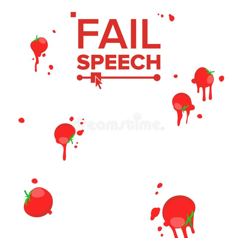 Throw Tomatoes Vector. Having Tomatoes From Crowd. Bad Luck, Mishap, Mischance, Failing Concept. Isolated Flat vector illustration