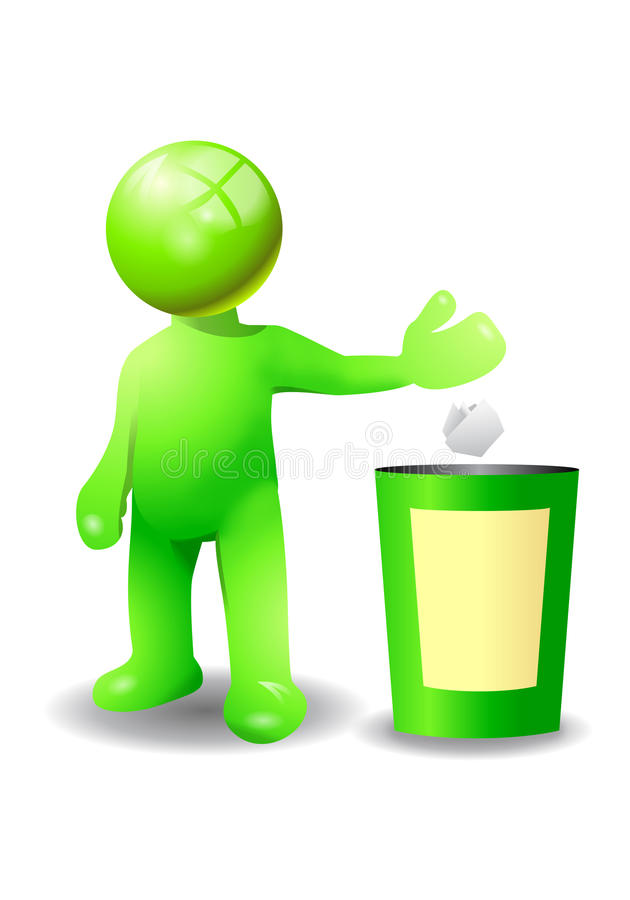 Throw a trash into recycle bin stock illustration
