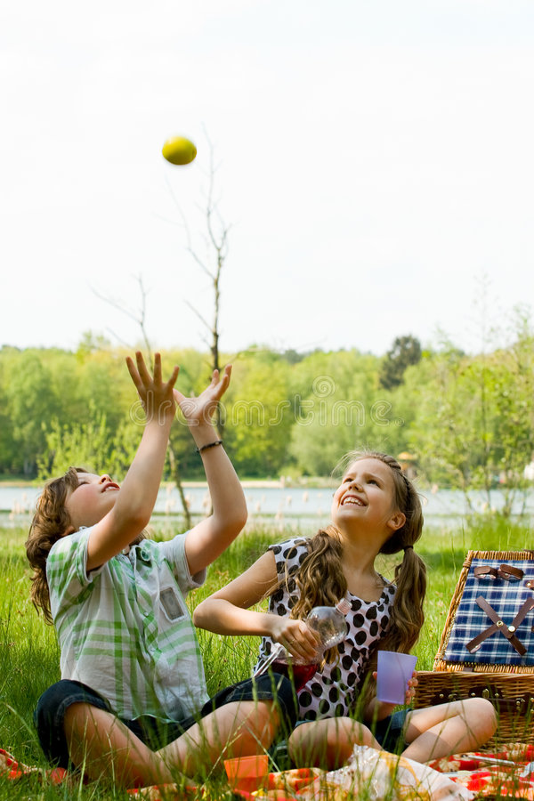 Throwing an apple. Two children enjoying a picnic in the summer royalty free stock photos