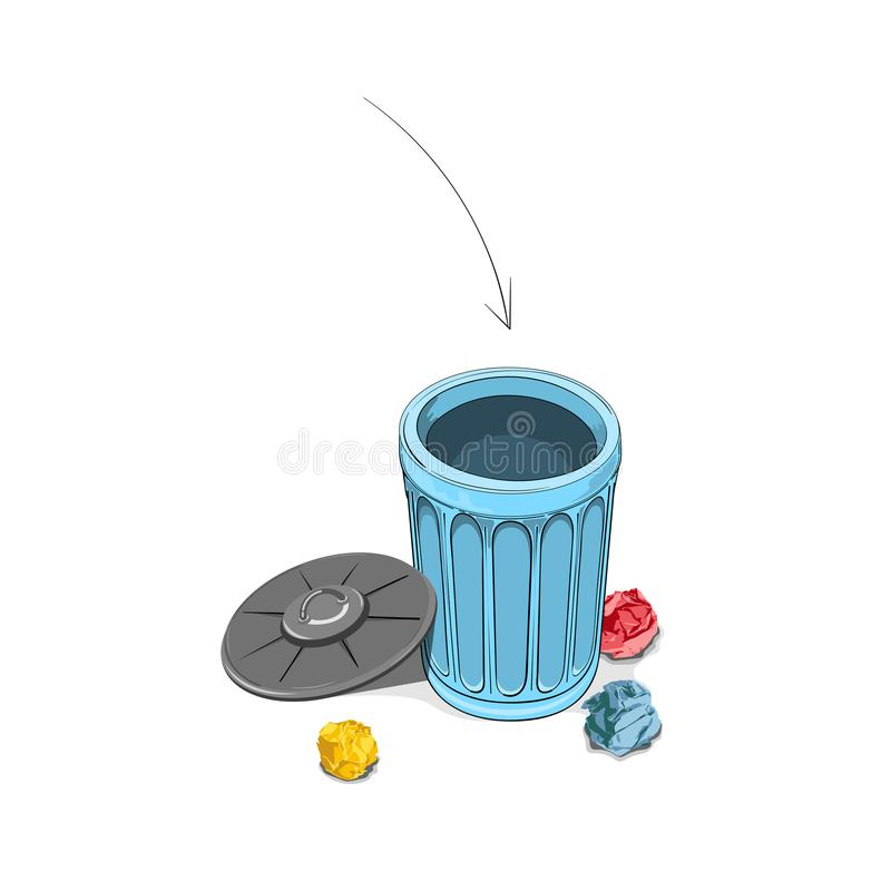 Throwing crumpled paper into dustbin,Vector illustration. Vector image,environmental protection,recyclable paper royalty free illustration