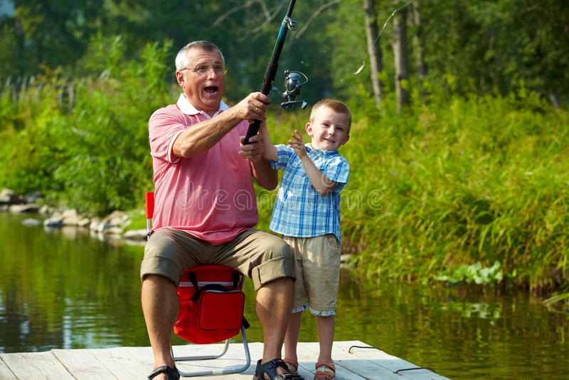 Throwing fishing tackle stock photo