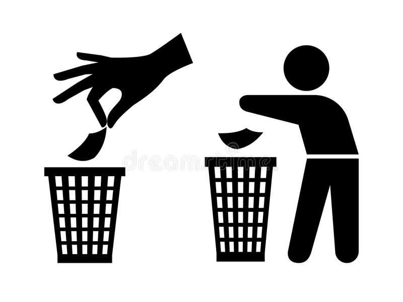 Tidy man or do not litter symbols, keep clean and dispose of carefully royalty free illustration