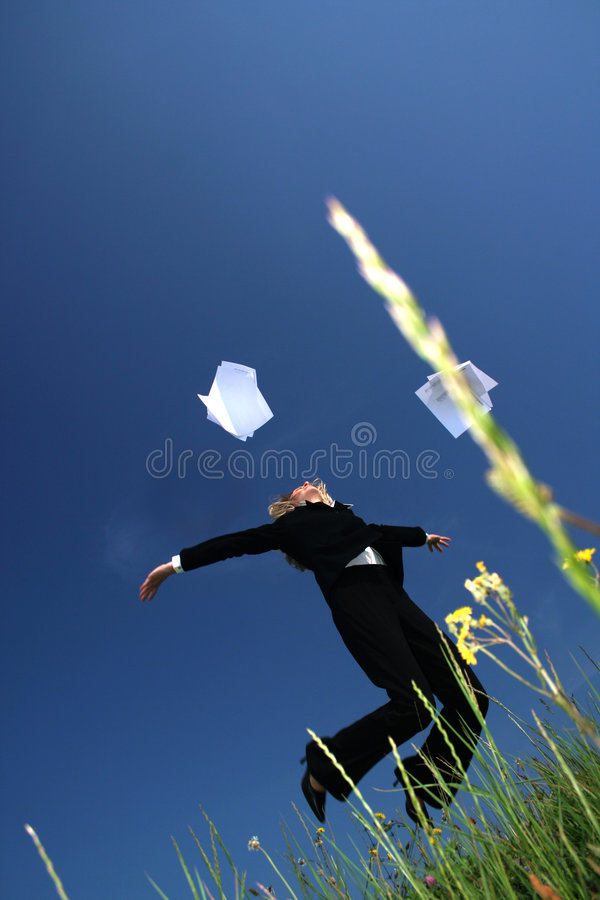 Throwing papers royalty free stock photo