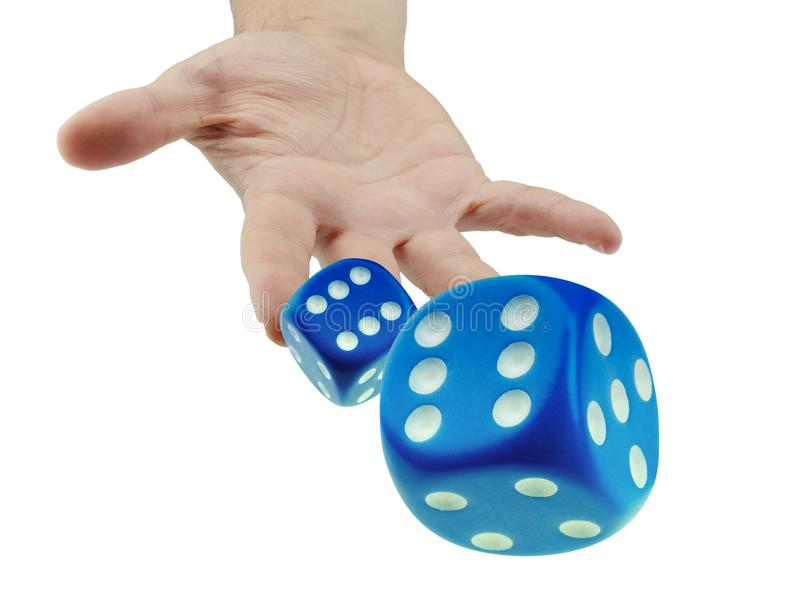 Throwing or rolling dice closeup isolated stock photography
