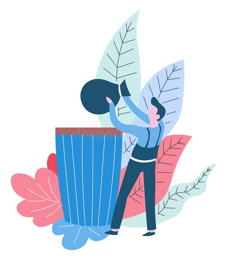 Throwing rubbish away cleaning service worker garbage container. Garbage container throwing rubbish away cleaning service worker vector litter bag male character royalty free illustration