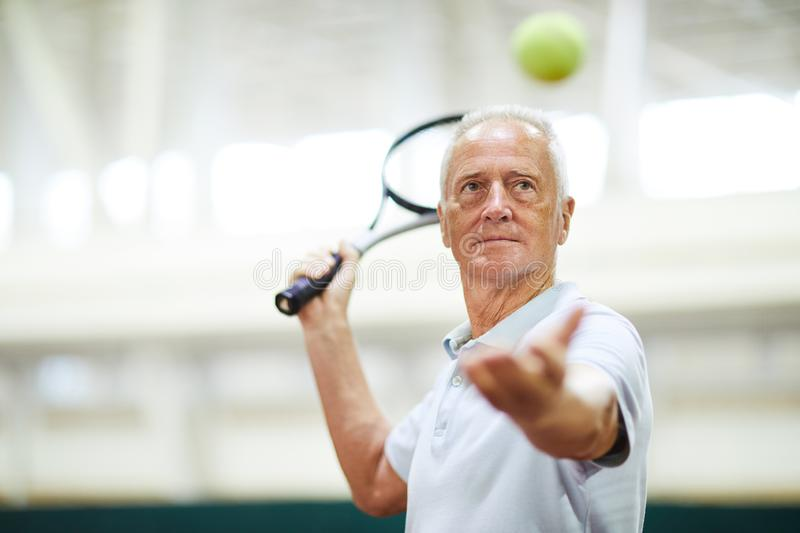 Throwing tennis ball stock photos