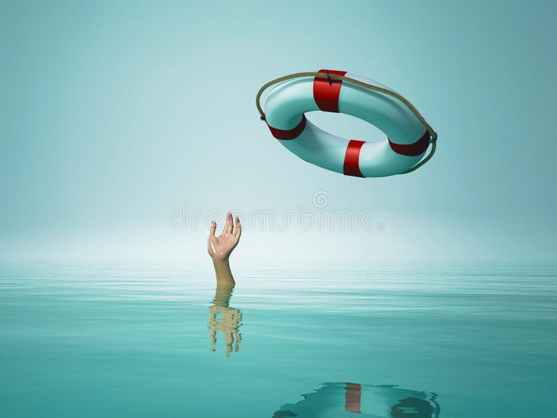 Thrown life buoy saving drowning person vector illustration