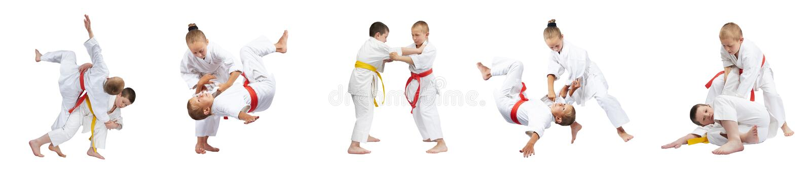 Throws Judo are performing athletes in judogi collage royalty free stock image