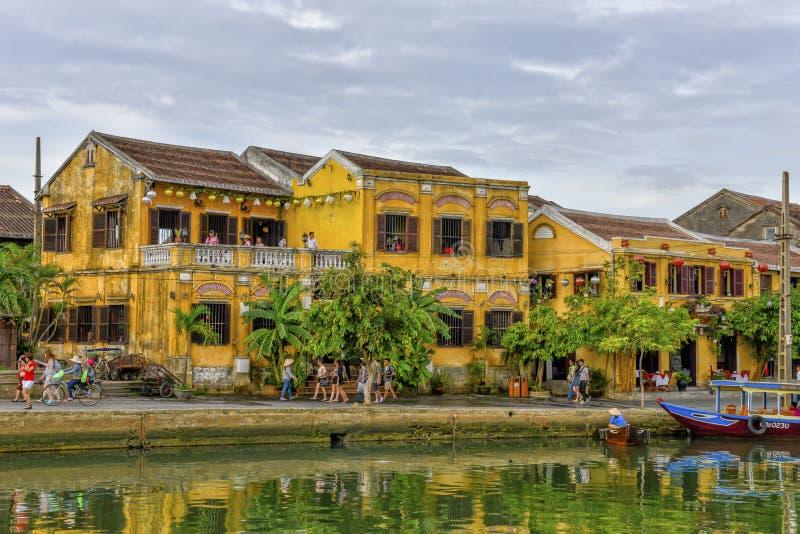 Thu BÃ ² n rzeka w Hoi, Wietnam zdjęcie royalty free