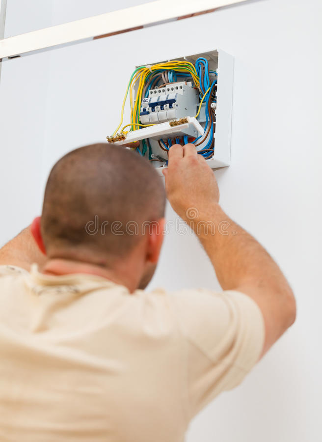 Thuis bevestigend Elektrische Zekering stock afbeeldingen