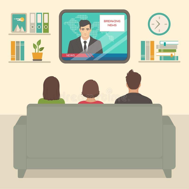 Thuis op het letten van familietv, mensen die op bank het letten op televisie in ruimte zitten vector illustratie