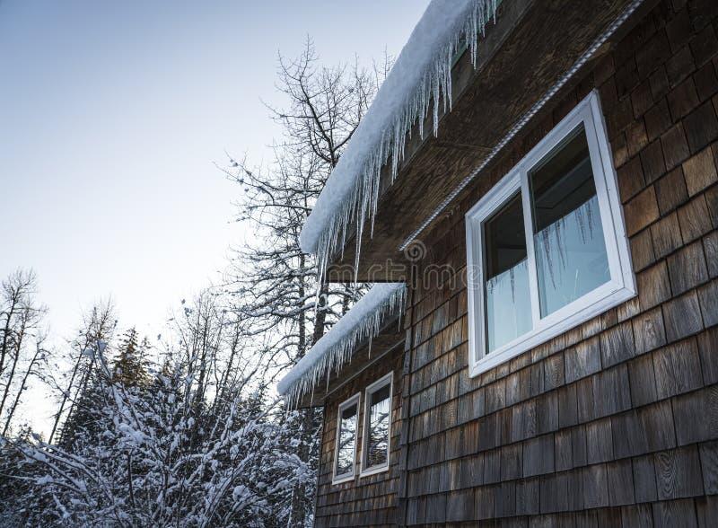 Thuis op het platteland met ijsjes in de winter stock foto's