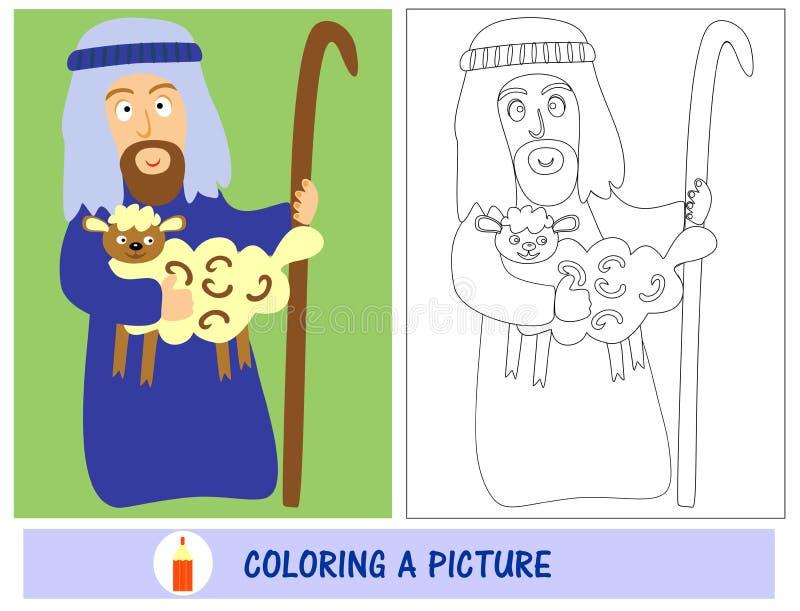 Thuiswerk voor jonge geitjes hoe te om een herder met lam te schilderen Zondagschool royalty-vrije illustratie