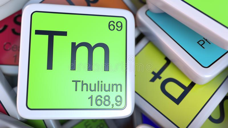 Thulium Tm block on the pile of periodic table of the chemical elements blocks. 3D rendering royalty free illustration
