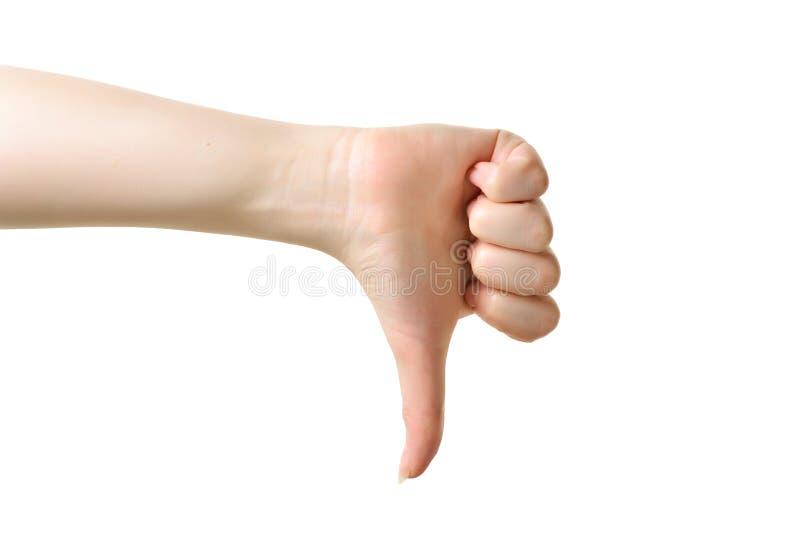 Thumb вниз с женского знака руки изолированного на белой предпосылке стоковая фотография rf